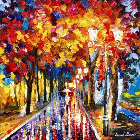 colorful painting colorful alley palette knife oil painting on canvas by
