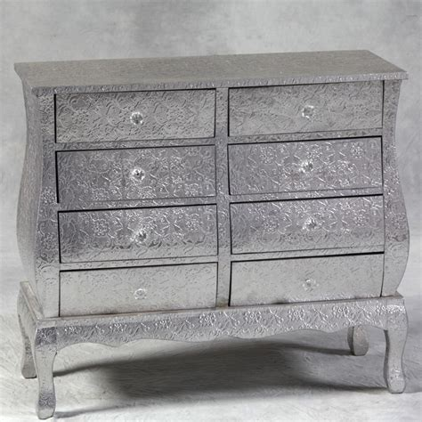 Silver Drawer by Silver Embossed Large 8 Drawers Wide Chest Of Drawers