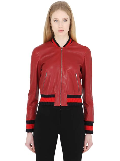 Jaket Gucci 2 gucci embroidered leather bomber jacket in lyst