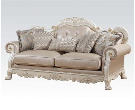 Dresden Formal Button Tufted Sofa & Loveseat In Antique Pearl White & Gold