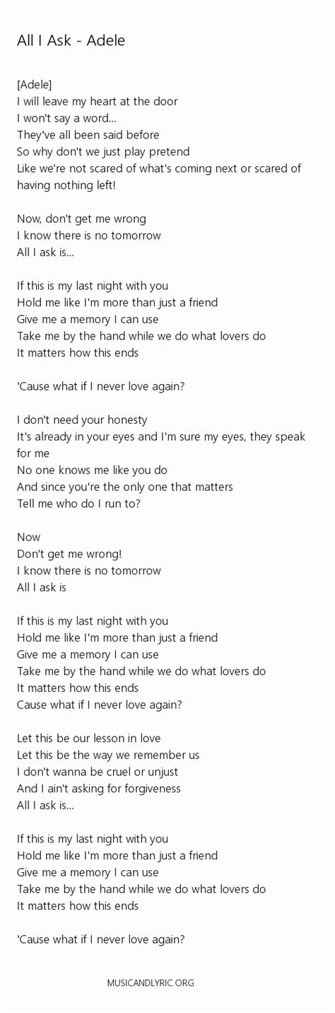 all i ask adele adele all i ask lyrics pdf musicandlyrics adele