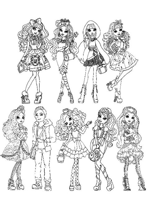 Ever After High Characters Coloring Pages To Print | ever after high all characters coloring pages download