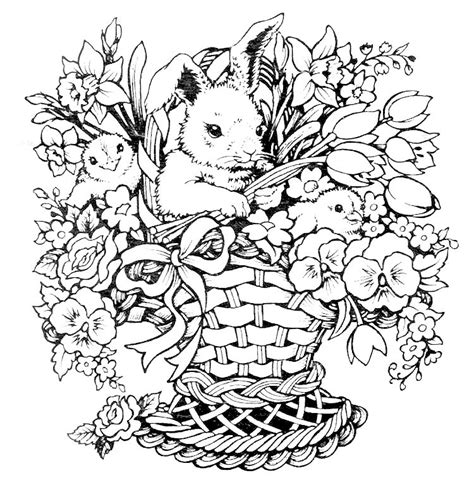 coloring pages for adults bunny rabbit chicks flowers basket for easter color page