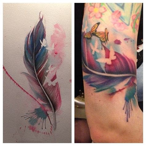 watercolor feather tattoo designs feather and butterfly water color ideas
