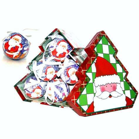 santa christmas baubles tree shaped storage gift box set