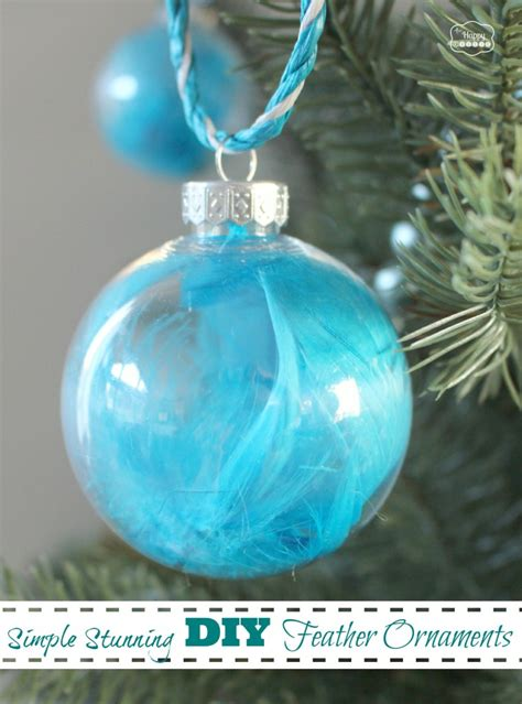 simple stunning diy feather ornaments  happy housie