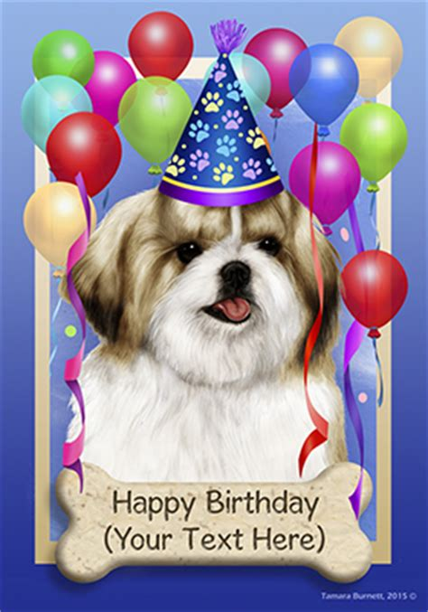happy birthday shih tzu pictures shih tzu gold white happy birthday flag by tamara burnett furrypartners