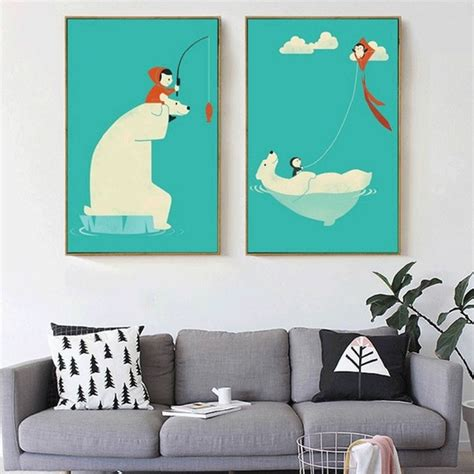 painting for nursery polar penguin and child flying a kite fishing canvas