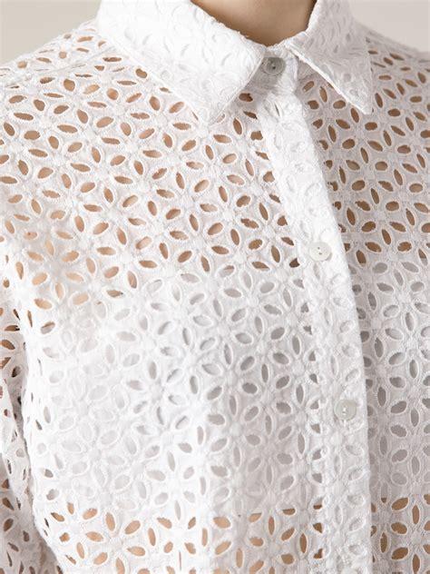 P A R O S H 3 4 Length lyst p a r o s h broderie anglais shirt in white
