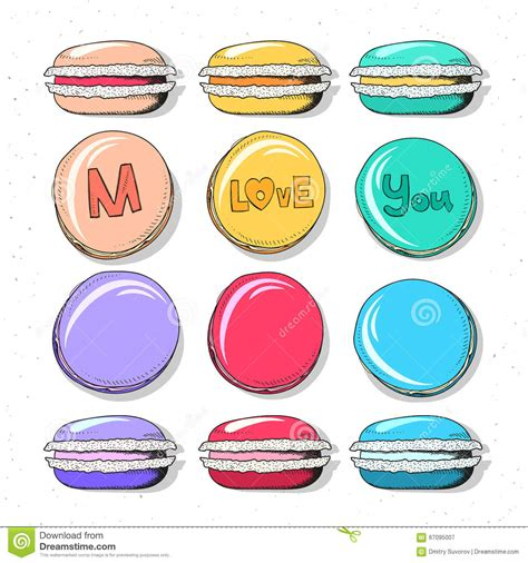Handmade Confectionery - set realistic sketch macaroon handmade for design