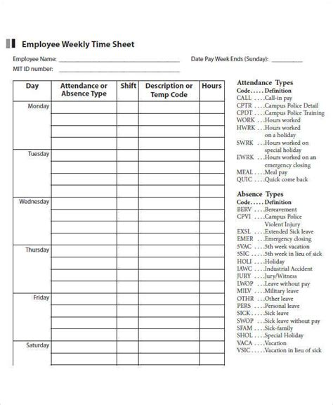 41 Timesheet Templates Sle Templates Weekly Timesheet Template For Employees