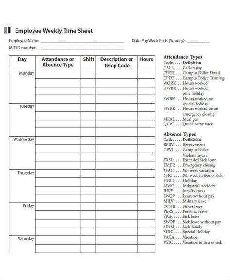 employee weekly timesheet template 42 timesheet templates