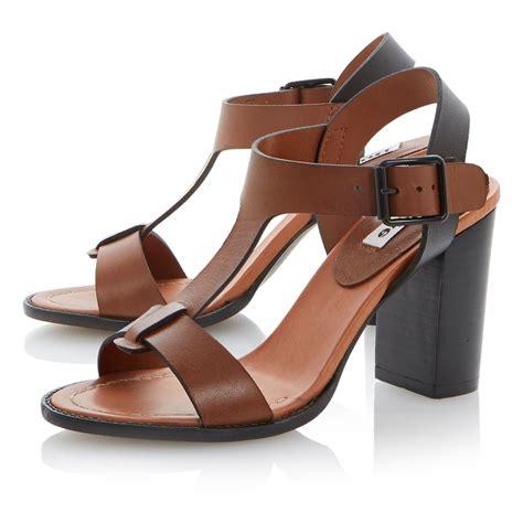 brown heeled sandals dune flock leather block heel buckle sandals in brown