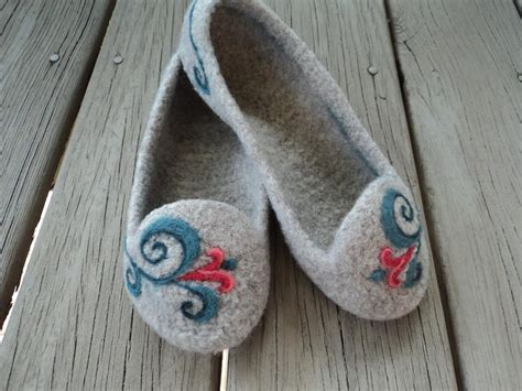 pattern wool felt summer slippers felted knit for women summer slippers