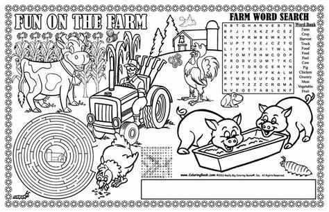 coloring books farm coloring placemat