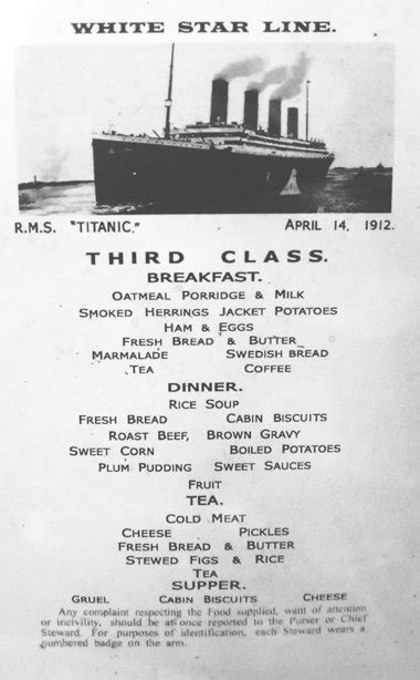 titanic third class menu the dream in their hearts titanic honeymoons part xiii