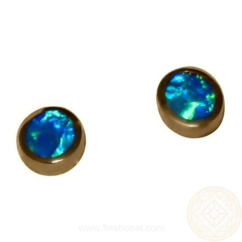 green opal earrings opal earrings 14k studs oval green blue opal earrings