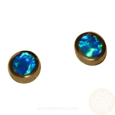 green opal earrings opal earrings 14k studs oval green blue opal earrings
