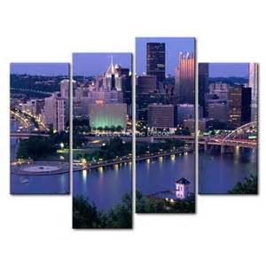 Piece blue wall art painting pittsburgh with high rise buliding