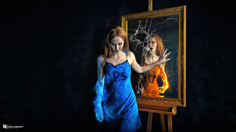 vs photoshop photoshop vs illustrator who in the mirror by durly0505
