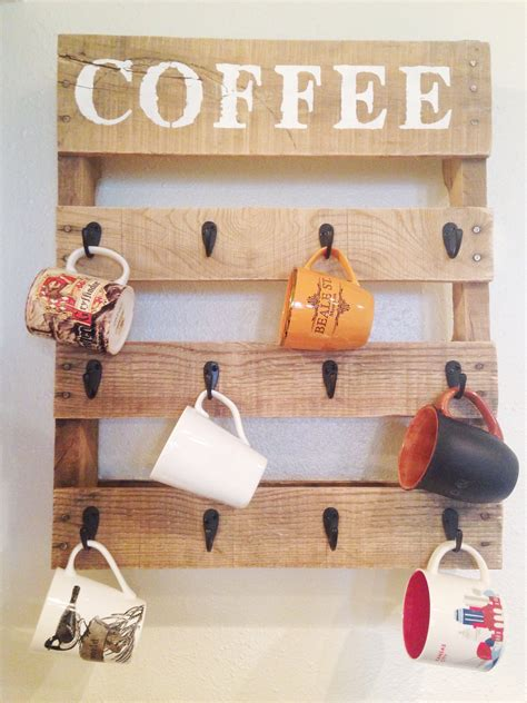 mug hanging rack diy pallet coffee cup holder one little bird blog