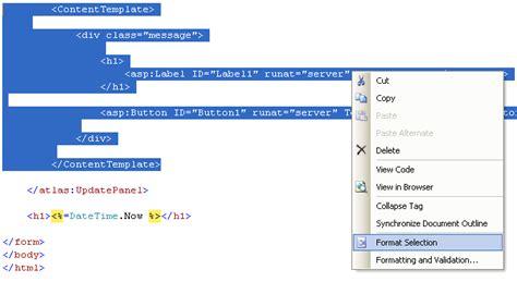scottgu s tip trick custom formatting html in visual web developer and visual studio 2005