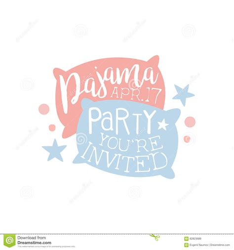 girly pajama party invitation card template with two