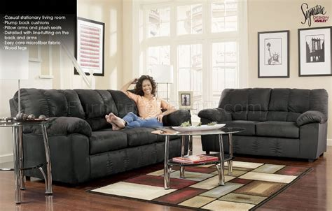black microfiber sofa and loveseat black microfiber casual sofa loveseat set by ashley design