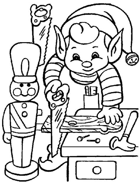 elves workshop coloring pages free christmas coloring pages elf in santa s workshop