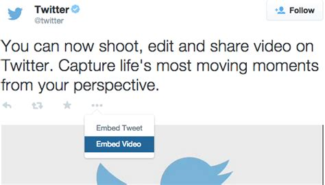 embedded a single tweet with a video specific template
