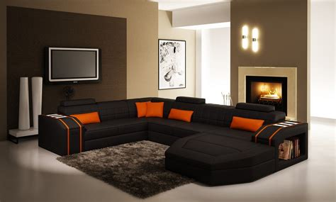 designer l divani casa 5038 modern black and orange leather sectional sofa