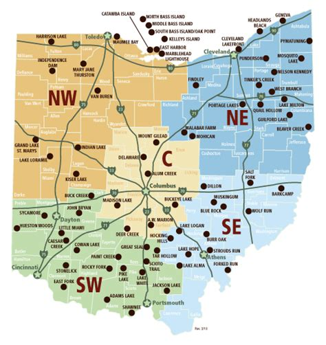 locator map for all ohio state parks list