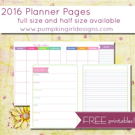 printable day planner pages 2016 free blank planner pages pumpkingirl designs
