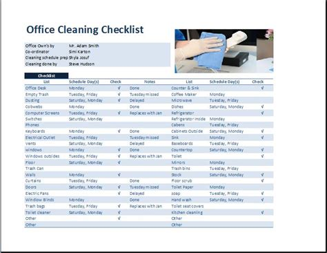 Commercial Office Cleaning Checklist Template Word Excel Templates Dental Office Cleaning Checklist Template