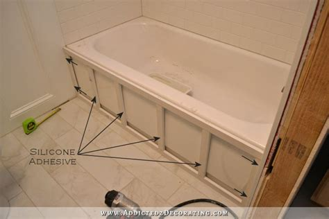 How To Build A Frame Around A Bathroom Mirror Diy Tub Skirt Decorative Side Panel For A Standard Apron Side Soaking Tub