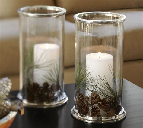 silver rim glass hurricane contemporary candleholders