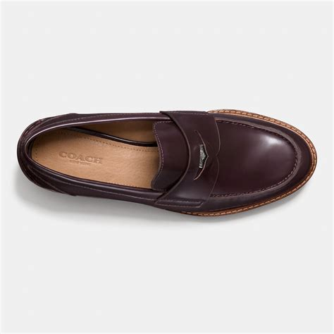coach loafers coach leather loafers in purple lyst