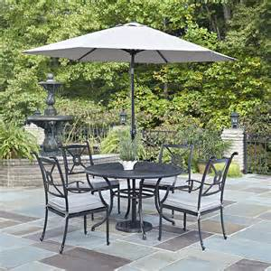 Patio Dining Sets With Umbrella Athens Charcoal 48 Inch 5 Outdoor Dining Set With Umbrella Home Styles Furniture Din
