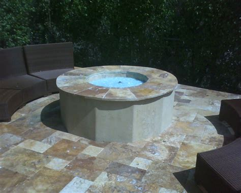 Custom Built Outdoor Gas Fire Pit With Crushed Glass Fire Glass Firepits