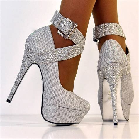 silver glitter high heel pumps new size uk 5 silver glitter buckle shimmer high