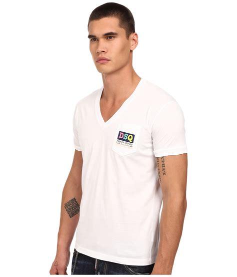 Pocket V Neck Shirt Only White dsquared 178 logo pocket v neck t shirt in white for lyst