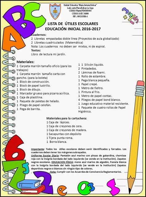 imagenes de utiles escolares para inicial lista de 218 tiles escolares 2016 2017