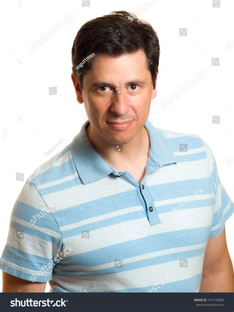 hair middle aged man dark caucasian middle aged man blue collared stock photo