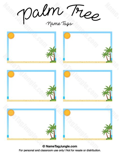 palm card template free printable palm tree name tags the template can also