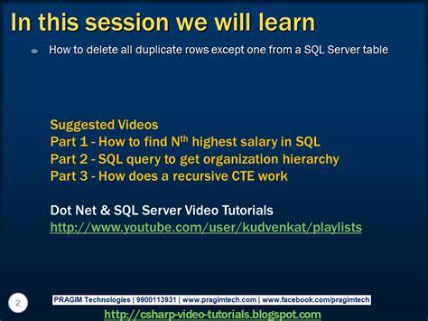tutorial video sql sql server net and c video tutorial part 4 delete