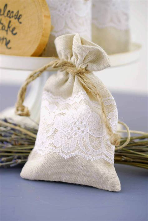 Wedding Favor Bags by 12 Linen Lace 3x5 Wedding Favor Bags