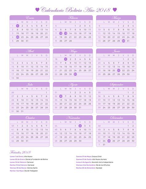 Calendario 2018 Para Imprimir Con Feriados Calendario Bolivia A 241 O 2018 Feriados