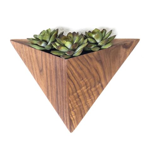 geometric hanging planter geometric hanging planter box triangular indoor planter wall mounted black walnut planter 72 00