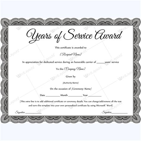 certificate for years of service template sle of years of service award awardcertificate