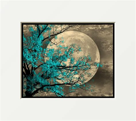 aqua blue home decor brown aqua blue tree moon wall art home decor picture ebay